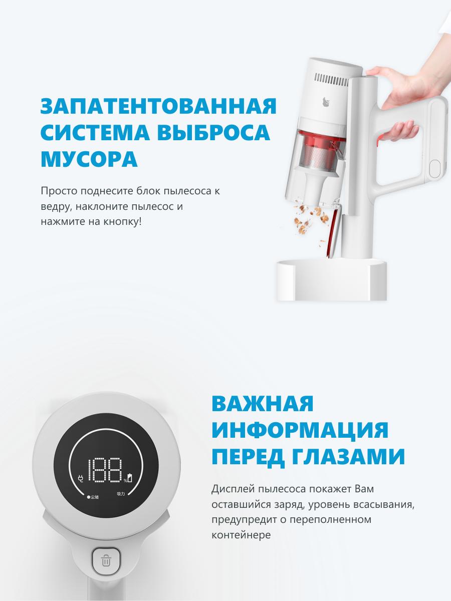 Беспроводной пылесос Xiaomi Shunzao Z11 Pro белый, русская версия-5